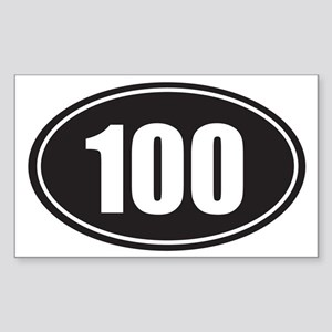 100 black oval Sticker (Rectangle)